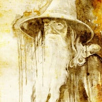 "Gandalf, The Hobbit watercolor painting print 8"" x 12"" Celebrity Portraits, dragon, The Lord of the Rings,"