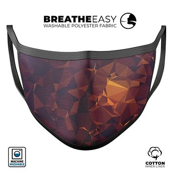 Abstract Copper Geometric Shapes - Made in USA Mouth Cover Unisex Anti-Dust Cotton Blend Reusable & Washable Face Mask with Adjustable Sizing for Adult or Child