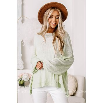 At This Point Balloon Sleeve Waffle Top | Mint