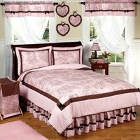 Pink and Brown French Toile and Polka Dot Girls Bedding 3pc Full / Queen Set