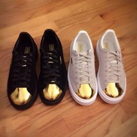 Puma Platform Suede Gold Black & White Gold Toe G-2