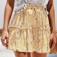 Vintage Casual Floral Print Short Skirt Women Fashion High Waist Ruffle Short Skirt Lace up Mini Skirt