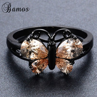 Bamos Cute Jewelry Butterfly Shape Finger Rings For Women Girl Black Gold Filled Wedding Party Engagement Promise Ring RB1249