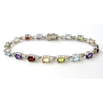 Gemstone Tennis Bracelet Sterling Silver 7""