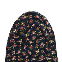 FOREVER 21 Floral Slouchy Beanie Blue/Multi One