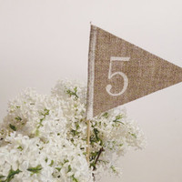 Burlap table numbers rustic table numbers weddings party celebration table decoration , burlap  table number flags, burlap decorations
