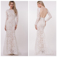 White Crochet Lace Long Sleeve Backless Bodycon Maxi Dress