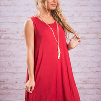 Easy Day In Love Dress, Red