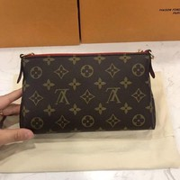 LV Louis Vuitton Fashion Women Zipper Cluth Bag Handbag Metal Chain Shoulder Bag I