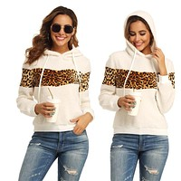 2020 autumn and winter new women's plush leopard print hooded sweater