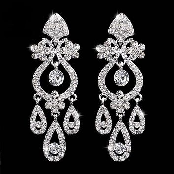 Crystal Bridal Earrings Silver Plated Floral