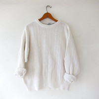 vintage natural white sweater. slouchy oversized sweater. loose knit sweater. boyfriend sweater