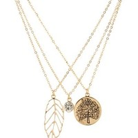 Tree & Leaf Charm Necklaces - 3 Pack by Charlotte Russe - Gold