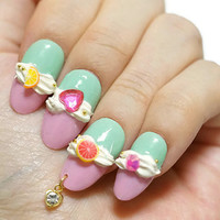 Nails, nail art, 3D nails, Japanese nail, Harajuku, fairy kei, yume kawaii, fake sweets, sweets deco, pastel fashion, sweet lolita, gyaru