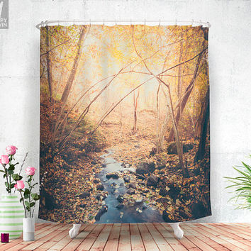 Blue cola mountain Shower curtain - Lovely autum colors in the forest up on the mountain, giving a wanderlust feeling in your bathroom.
