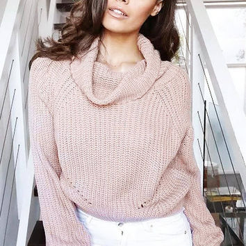 Light Pink High Roll Neck Chunky Knit Sweater