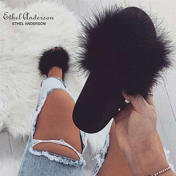 ETHEL ANERSON Women Ostrich Feather Slippers