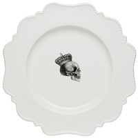 White Skull Dishes/Plates, Porcelain, Dots and Scrolls, very Ornate and Baroque-Looking, great as Wedding China