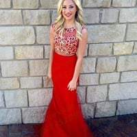 Red Chiffon Floor Length Sleeveless Prom Dresses