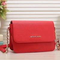 MK Michael Kors Stylish Women Pure Color Leather Satchel Bag Shoulder Bag Crossbody Red I