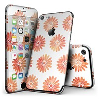 The Red Orange Watercolor Daisies  - 4-Piece Skin Kit for the iPhone 7 or 7 Plus