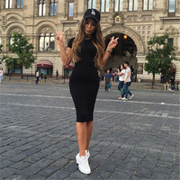 2016 New Style Women Casual Solid Color Bodycon Dress Hot Selling Summer Female Short Sleeve O-Neck Sheath Knee-Length Dresses