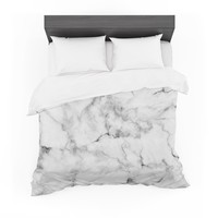 "Kess Original ""White Marble"" Gray White Featherweight Duvet Cover"