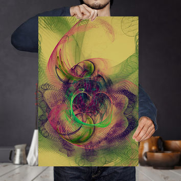 Psychedelic Fractal Heart Art Print - Gothic Wall Hanging | Grunge Wall Art | Quirky and Unique Apartment Decor