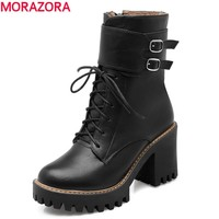 Fashion boots 2017 autumn winter buckle ladies shoes thick high heels round toe platform lace up ankle boots for woman