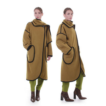 80s Vintage Olive Green Wool Cocoon Coat Long Draped Kimono Shawl Avant Garde Retro Minimalist Winter Plus Size Clothing XL