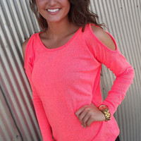 Neon Coral Cold Shoulder Knit   The Rage
