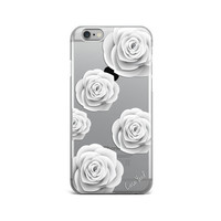 clear iphone 6s case white roses, iphone 6 white roses case, clear iphone 6 plus case, clear iphone 5c case, clear iphone 5s roses case
