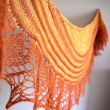 Orange and brown shawl, wool and mohair shawlette, womens scarf, geometric scarf, lace shouldercover, crescent shape, leaf edging