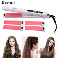 Flat Iron 3 In 1 Hair Styling Tools Electric Hair Crimper / Hair Curler & Straightener Curling Wand LCD Display peine alisador 0