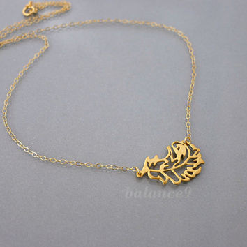 Gold leaf necklace, swirl leaf, gold filled chain, by balance9