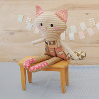 Cat, Rag Doll, Handmade Pink Cat for Cat Lover, Cat Lover Gift, Stuffed Rag Cat Doll, Soft Animal toy, Textile Animal Toy, Free Shipping
