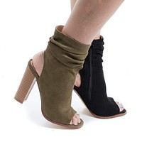 Anson1 By Liliana, Peep Toe Slouchy Ankle Cut Out Stacked Heel Booties