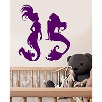 Vinyl Wall Decal Nymph Mermaids Marine Style Nursery Stickers Unique Gift (878ig)