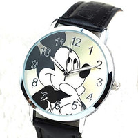 Mickey Mouse on a Round Womens , Mens or Girls Black Leather Wrist Watch