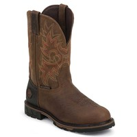 Justin Men's WK4940 Rustic Hybred Waterproof Pull on Boots -Barnwood