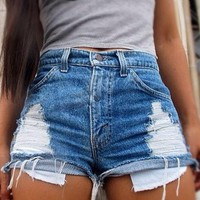 Light Blue Cut Out Pockets Buttons Zipper Fashion Short Jeans