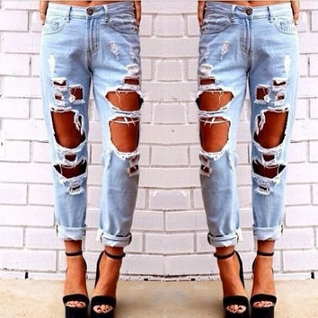 New Womens vintage Skinny Faded Ripped Casual Slim Fit Cool Denim Cotton Jeans = 4823988420