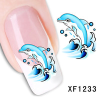 waterproof Water Transfer Nails Art Sticker cute cartoon dolphin design girl and women manicure tools Nail Wraps XF1233
