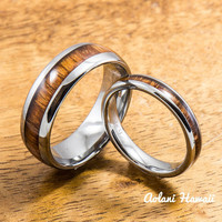 Wedding Band Set of Tungsten Rings with Hawaiian Koa Wood Inlay (4mm & 8mm width, Barrel Style)