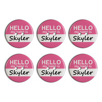 Skyler Hello My Name Is Plastic Resin Button Set of 6
