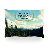 """Robin Dickinson """"Life Is..."""" Landscape Typography Oblong Pillow"""