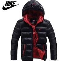 NIKE Trending Casual Men Long Sleeve Cardigan Bread Down Coat Hoodie Cotton Jacket Windbreaker