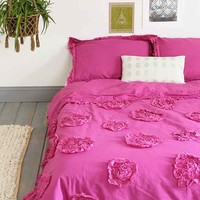 Plum & Bow Frayed Rose Duvet Cover- Berry Full/queen