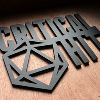 Critical Hit - Dungeons and Dragons Laser Cut Wood Wall Art Sign