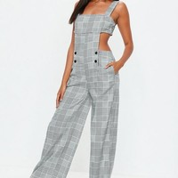 Missguided - Gray Plaid Cut Out Jumpsuit